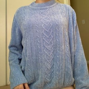 Blue Chenille Cowl Neck Sweater NWOT